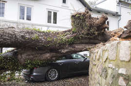 A tree lies on a car in Hamburg, Germany, Monday, Feb. 10, 2020. A storm battered the U.K. and northern Europe with hurricane…