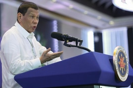 Philippine President Rodrigo Duterte delivers a speech during the 11th Biennial National Convention and 22nd founding anniversary of the Chinese Filipino Business Club, Inc. in Manila, Philippines, Feb. 10, 2020.