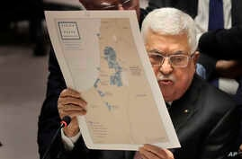 Palestinian President Mahmoud Abbas speaks during a Security Council meeting at United Nations headquarters, Tuesday, Feb. 11,…