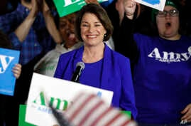 Democratic presidential candidate Sen. Amy Klobuchar, D-Minn., speaks at her election night party, Tuesday, Feb. 11, 2020, in…