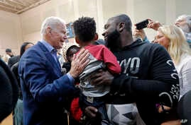 Democratic presidential candidate former Vice President Joe Biden greets supporters after speaking at a campaign event