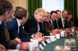 FILE - Britain's Prime Minister Boris Johnson speaks during a cabinet meeting at 10 Downing Street in London, Dec. 17, 2019.
