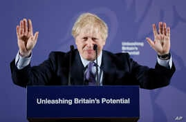 British Prime Minister Boris Johnson outlines his government's negotiating stance with the European Union after Brexit, during a key speech at the Old Naval College in Greenwich, London, Feb. 3, 2020.