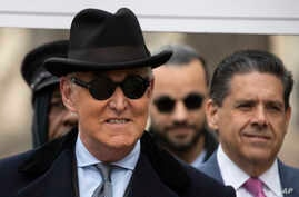 Roger Stone arrives for his sentencing at federal court in Washington, Feb. 20, 2020.