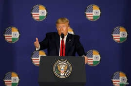 U.S. President Donald Trump speaks during a news conference in New Delhi, India, Feb. 25, 2020.