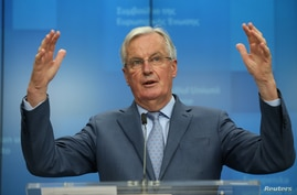 European Union's chief Brexit negotiator Michel Barnier holds a news conference after a General Affairs Council in Brussels, Belgium, Feb. 25, 2020.