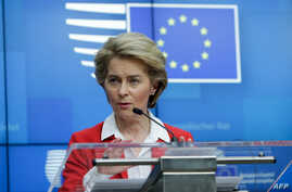 President of European Commission, Ursula Von der Leyen, gives a press conference after EU leaders' video conference on COVID-19…