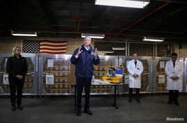New York City Mayor Bill de Blasio speaks during a news conference at the New York City Emergency Management Warehouse
