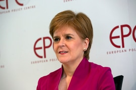 FILE - Scotland's First Minister Nicola Sturgeon speaks during an event 'Scotland's European Future after Brexit' at the European Policy Center in Brussels, Feb. 10, 2020.
