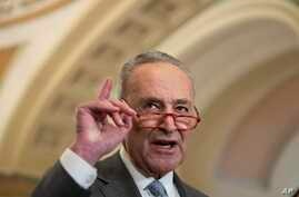 Senate Minority Leader Chuck Schumer of N.Y., speaks about the coronavirus during a media availability on Capitol Hill, Tuesday…