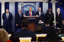 President Donald Trump speaks during a coronavirus task force briefing at the White House, March 22, 2020, in Washington.