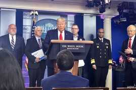 U.S. President Donald Trump briefs reporters at a news conference on the latest steps the United States is taking to fight the coronavirus disease (COVID-19) outbreak, Washington D.C., March 22, 2020. (C. Presutti/VOA)