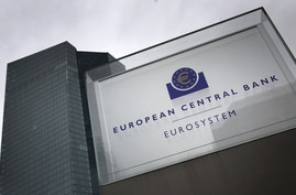 Signage for the headquarters of the European Central Bank (ECB) is seen in Frankfurt, Germany, March 12, 2020.