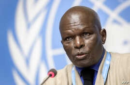 Chairman of the U.N Commission of Inquiry on Burundi, Doudou Diene, speaks during a press conference to present a fresch report on rights violations in the country, Sept. 4, 2019 in Geneva, Switzerland..