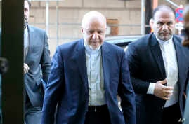 Iran's Minister of Petroleum, Bijan Namdar Zangeneh, arrives for a meeting of the Organization of the Petroleum Exporting Countries, OPEC, at their headquarters in Vienna, Austria, March 5, 2020.