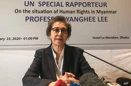 U.N. Special Rapporteur Yanghee Lee speaks during a press conference in Dhaka, Bangladesh, Jan. 23, 2020.