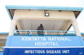 A member of the Kenyan military looks out from the balcony of the recently-completed infectious disease unit of Kenyatta National Hospital, located at Mbagathi Hospital, in the capital Nairobi, Kenya, March 6, 2020.