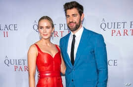 """Emily Blunt and John Krasinski attend the world premiere of Paramount Pictures' """"A Quiet Place Part II"""" at Jazz at Lincoln Center's Frederick P. Rose Hall, March 8, 2020, in New York."""