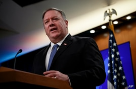 Secretary of State Mike Pompeo speaks during a news conference at the State Department in Washington, March, 5, 2020.