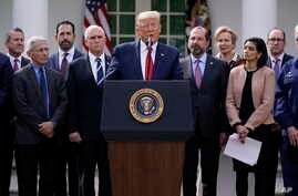 President Donald Trump speaks during a news conference on the coronavirus, in the Rose Garden at the White House, March 13, 2020, in Washington.
