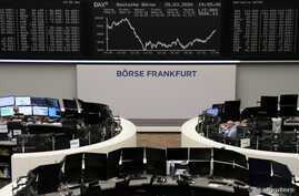 The German share price index DAX graph is pictured at the stock exchange in Frankfurt, Germany, March 25, 2020.