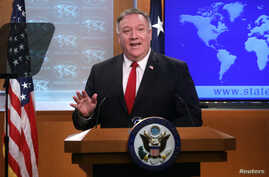 U.S. Secretary of State Mike Pompeo addresses a news conference at the State Department in Washington, U.S., April 7, 2020…