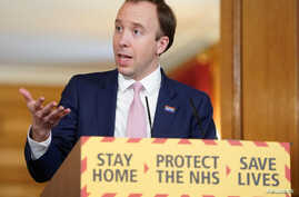 Britain's Health Secretary Matt Hancock speaks during a daily news conference to update on the coronavirus disease (COVID-19)…