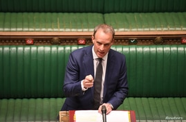 British Foreign Secretary Dominic Raab deputising for Prime Minister Boris Johnson speaks during Prime Minister's Questions in…