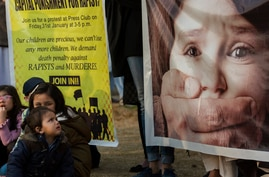 FILE - Pakistani children take part in rally against child abuse, in Islamabad, Pakistan.
