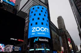 Nasdaq is ready for the Zoom IPO, Thursday, April 18, 2019 in New York. The videoconferencing company is headquartered in San…