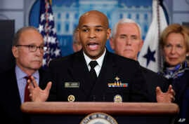 U.S. Surgeon General Jerome Adams speaks in the briefing room of the White House in Washington, March, 10, 2020, about the coronavirus outbreak.