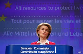 European Commission President Ursula von der Leyen speaks during a media conference, detailing EU efforts to limit the economic impact of the Covid-19 outbreak, at EU headquarters in Brussels, Thursday, April 2, 2020.