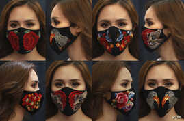 Combination photo shows a woman wearing designs of embroidery masks at a fashion studio in Hanoi