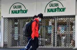 A Galeria Kaufhof warehouse is closed as many smaller stores are allowed to open in Essen, Germany, Monday, April 20, 2020.
