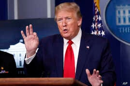 President Donald Trump speaks about the coronavirus in the James Brady Press Briefing Room of the White House, April 20.