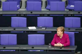 German Chancellor Angela Merkel attends a meeting of the German federal parliament, Bundestag, at the Reichstag building in Berlin, Germany, April 23, 2020.