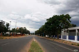 A street is empty during a 28-day lockdown, to help prevent the spread of COVID-19, in Botswana. (MqondisiDube/VOA)