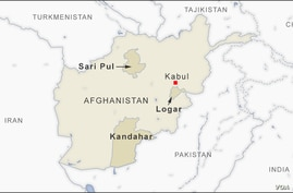 Map of Kabul and Sar-e-Pul, Kandahar and Logar provinces