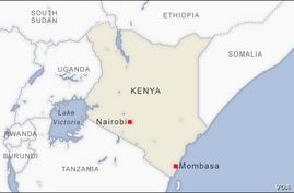 Map of Nairobi and Mombasa Kenya