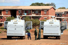 FILE PHOTO: Police patrol during a 21-day nationwide lockdown called to help curb the spread of coronavirus disease (COVID-19),…