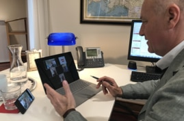 In this photo taken on March 27, 2020, Martin Weiss, Ambassador of Austria to the U.S., is seen video conferencing in his office at the Embassy of Austria. (Courtesy: Austria Embassy)