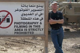 Mark Frerichs, a contractor from Illinois, poses in Iraq in this undated photo obtained from Twitter that he would include with his resume when job hunting. Frerichs was abducted in Afghanistan in January 2020.