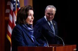House Speaker Nancy Pelosi of Calif., speaks with reporters alongside Senate Minority Leader Sen. Chuck Schumer of N.Y. after the Senate approved a nearly $500 billion coronavirus aid bill, April 21, 2020, on Capitol Hill in Washington.