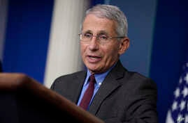 Director of the National Institute of Allergy and Infectious Diseases Dr. Anthony Fauci speaks during a coronavirus task force briefing at the White House, April 10, 2020, in Washington.