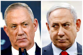 FILE - A combination picture shows Benny Gantz, leader of Blue and White party, in Tel Aviv, Israel, Nov. 23, 2019, and Israeli Prime Minister Benjamin Netanyahu in Kiryat Malachi, Israel, March 1, 2020.