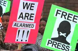 FILE - Protestors for press freedom hold placards outside the Harare Magistrate's Court