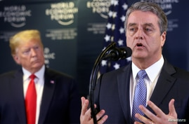 Director-General of World Trade Organization Roberto Azevedo speaks next to U.S. President Donald Trump during a news…