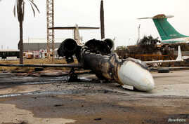 A passenger plane damaged by shelling is seen at Tripoli's Mitiga airport in Tripoli, Libya May 10, 2020.