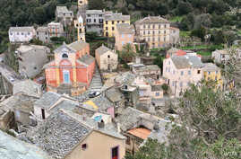 A village in northern Corsica. Some Corsicans on the mainland moved back home to wait out the coronavirus lockdown. (Lisa Bryant/VOA)