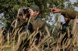 Israeli troops take part in a drill in northern Israel.